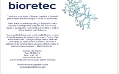 The clinical study results of Bioretec`s new first in the world product will be presented in April at EPOS 2018 in Norway!
